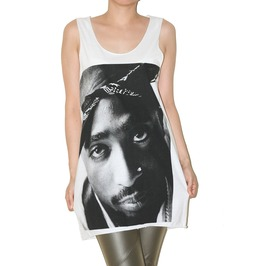 Tupac Amaru Shakur Rapper Music White Tank Top Size M