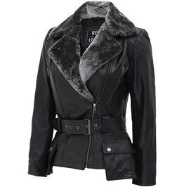 Women Western Fashion Black Leather Fur Jacket Stylish Belted Jackets