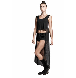 Asymmetrical Witchy Crop Top | High-Low Mesh Top