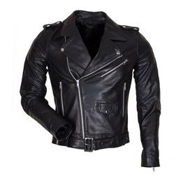 Mens Street Fashion Black Leather Motorcycle Racing Jacket