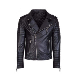 Mens Street Fashion Cowhide Black Leather Bikers Jacket