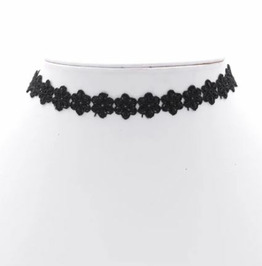 Black Big Flower Pattern Choker Necklace