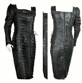 Olivia Couture Dress,Leather Dress,genuine Lamb Leather Dress