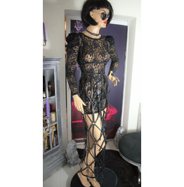 H119,Leather Cage Dress,Fetish Dress,Leather Harness Dress,Harness Leather