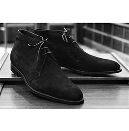 Stylish Handmade Black Suede Leather Dress Boots for Men Chukka Boots