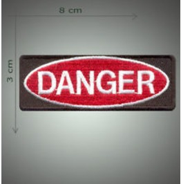 Danger Embroidered Patch, 1,2 X 3,2 Inch