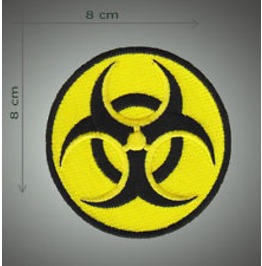 Biohazaard Embroidered Patch, Diameter 3,2 Inch
