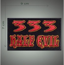 333 Half Evil Embroidered Patch, 2,8 X 3,6 Inch