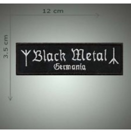 Black Metal Embroidered Patch, 1,4 X 4,8 Inch