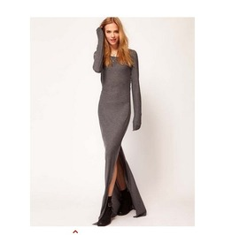 Pure Color Women Long Sleeved Fashion Dress