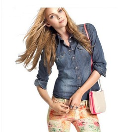 Women Washed Jeans Wear Blouse Tops