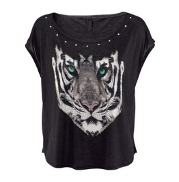 Tiger Print Women Fashion T Shirt Tee Tops