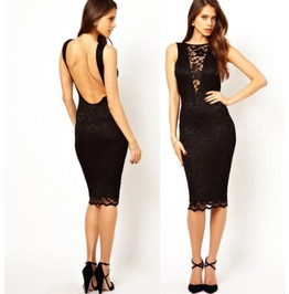 Sexy Lace Back Hollow Women Dress