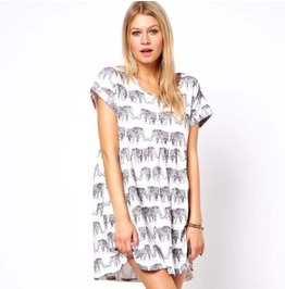 Cute Elephant Print Casual Long T Shirt