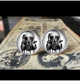 Gas Mask Skull Cuff Links Men, Wedding,Groomsmen,Groom