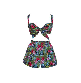Tropical Tie Bra and Shorts Set