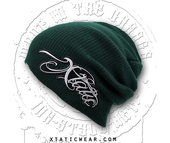 xtatic_wear_beanie_green_chicano_lettering_hats_caps_2.jpg