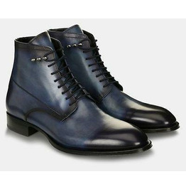 Handmade Ankle Leather Lace Up Dress Boots for Men Navy Black Fashion Boots
