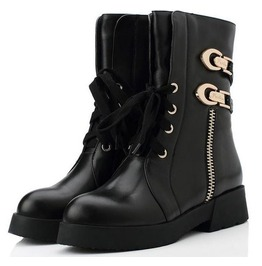 Stylish Buckle Side Zipper Real Leather Boots