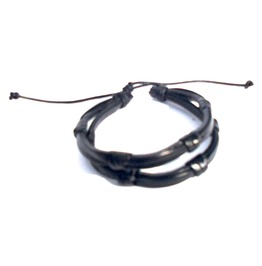 Striking! Double Black Leather Knot Wristband