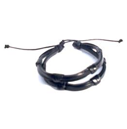 Striking! Double Black Leather Knot Wristband