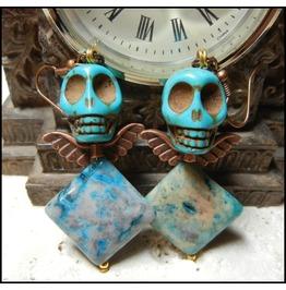 Turquoise Fraternal Skull Twins Earrings Ooak Mismatch