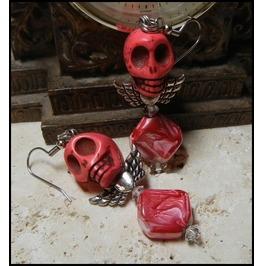 Ooak Red Silver Colored Angel Skull Earrings