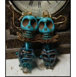 Ooak Turquoise Glass Fish Body Skull Earrings