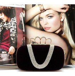 Stylish Crystal Studded Hand Clutch Purse