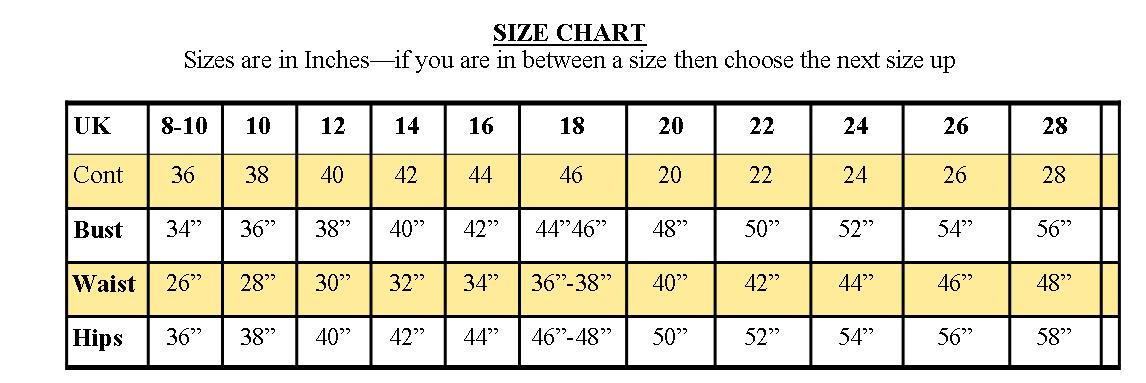 Chicstar size chart