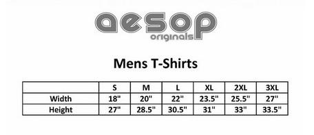 Aesop men's tee size chart