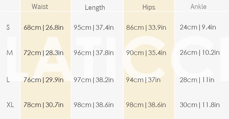 Size chart lbt 10007