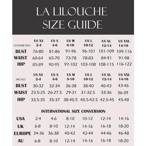 Size chart panties and sleepwear