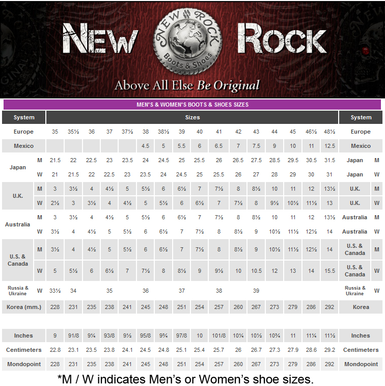 Newrockbootssizechart