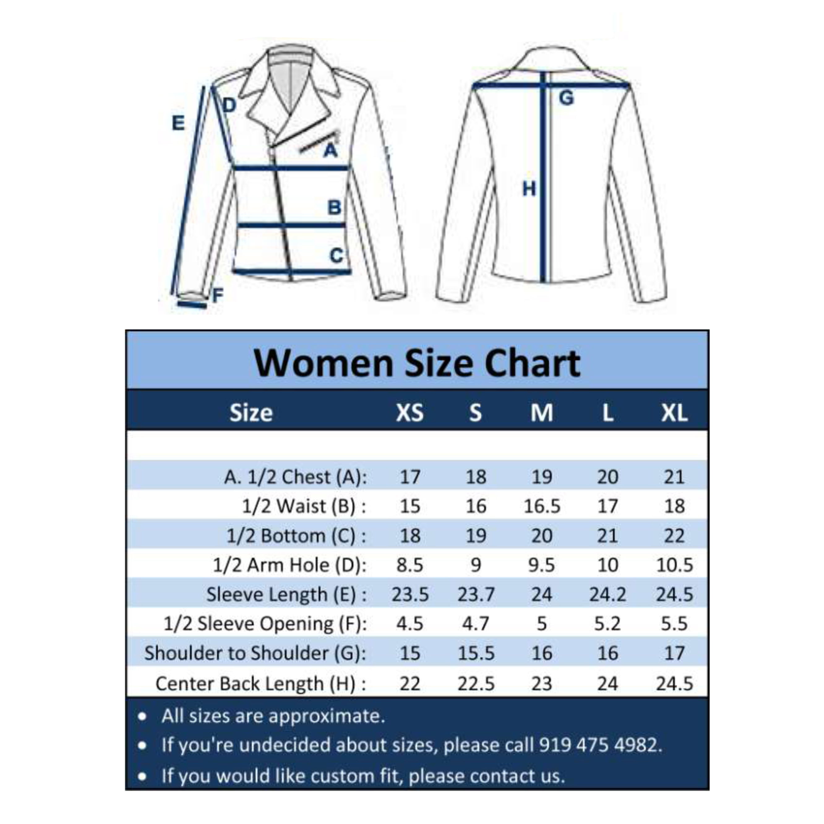 Us Womens Jacket Size Chart Toffee Art