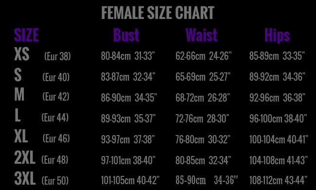 Femalesizechart