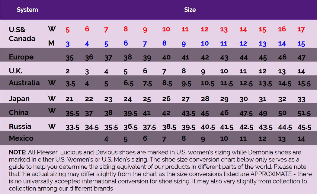 Pleaser usa   mens   womens shoes size guide