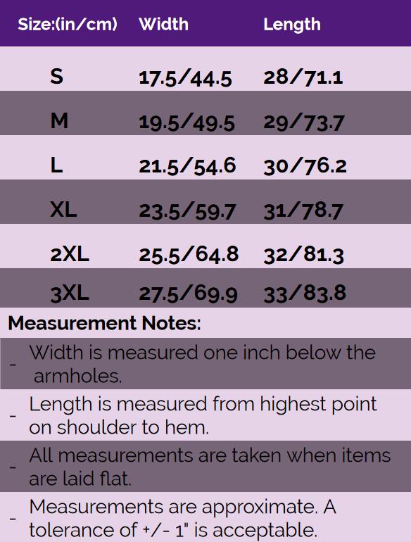 Rebelsmarket premium t shirts size chart