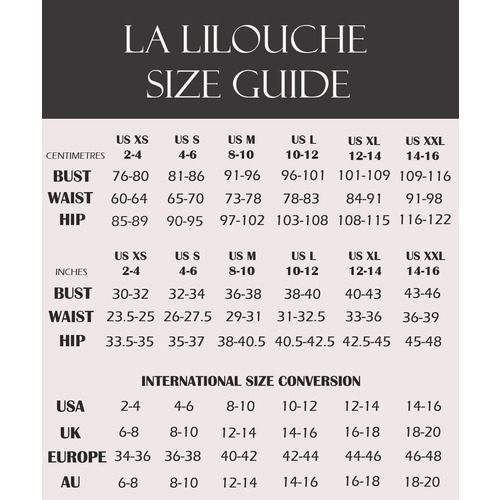 Size chart panties and sleepwear
