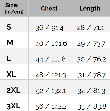 Rebelsmarket official store t shirts size chart