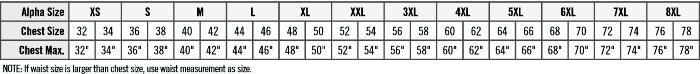 Red kap work style jacket size chart