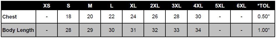 Anvil 976 sizing chart