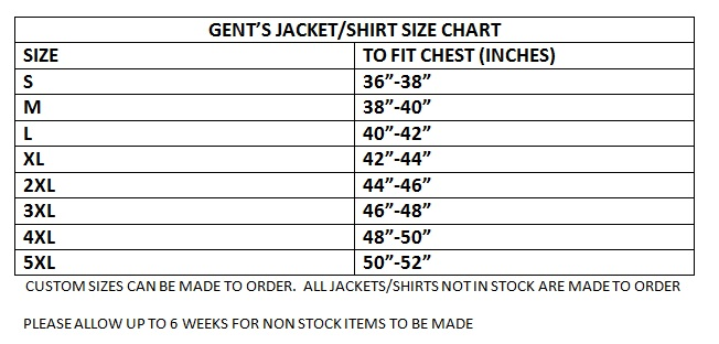 Gents jacket size chart