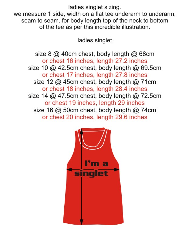 Singlet ladies measurements