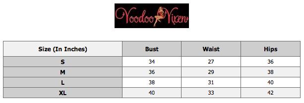 Voodoo vixen size chart