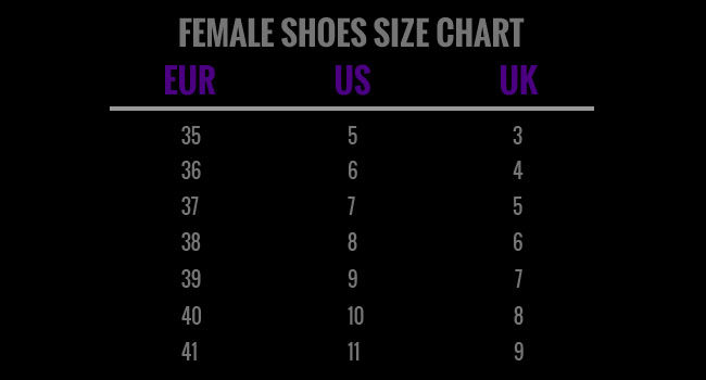 Female shos size chart
