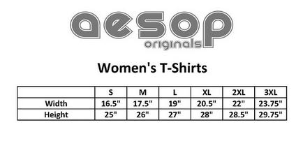 Aesop women's tee size chart
