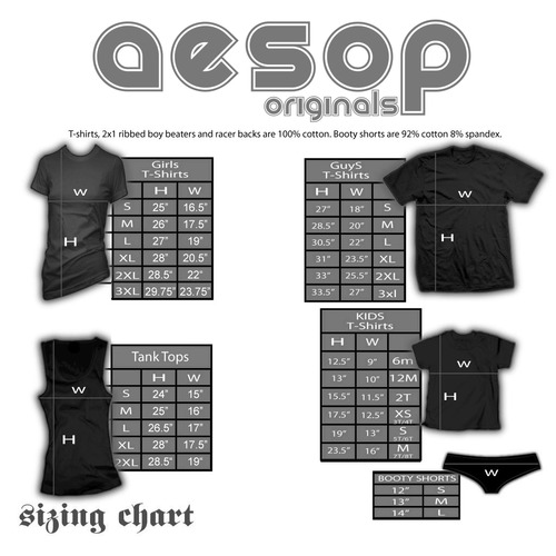 Aesop originals sizing chart 2