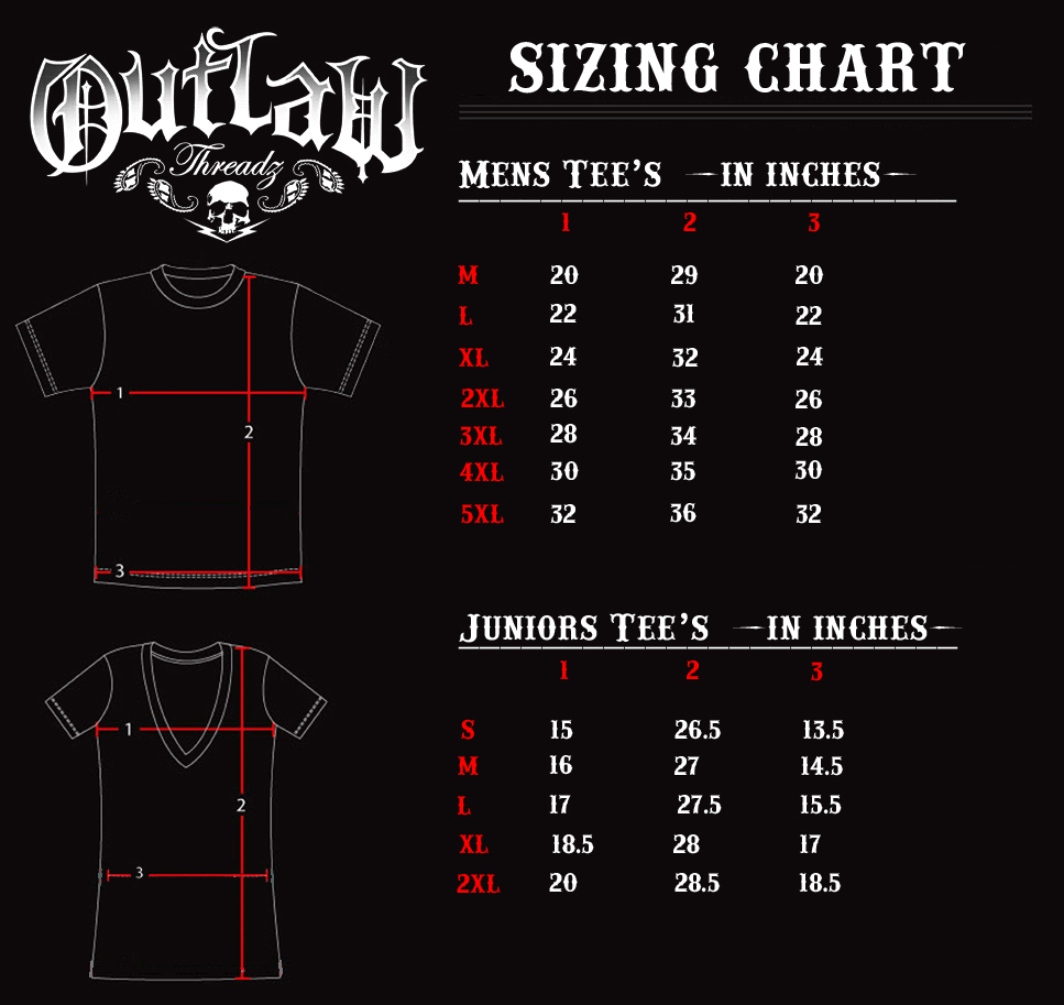Outlaw sizing chart