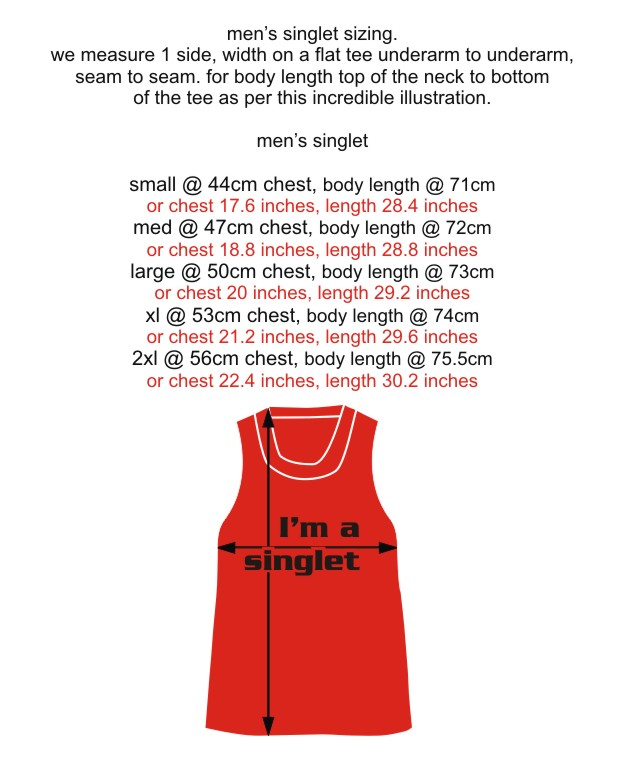 Singlet men measurements